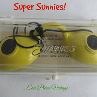 Super Sunnies Mid Century 1960s Yellow Eye Protection Goggles for Sun Lamps Tanning Beds Sunglasses