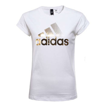 Adidas Women Round neck Gold Logo Tee T-shirt