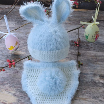 Ester Bunny Hat and Diaper Cover Set Crochet Newborn Photo Props Baby Shower Gift Blue Ears Beanie Cute Hats by Mila Infant Bunny Costume