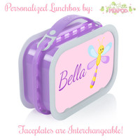 Dragonfly Lunchbox - Personalized Lunchbox with Interchangeable Faceplates - Double-Sided Pink and DragonFly and Dots Lunchbox
