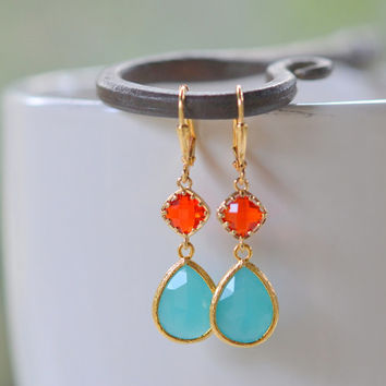 Turquoise Teardrop and Red Diamond Dangle Earrings. Fashion Earrings. Red Aqua Earrings. Free Shipping.