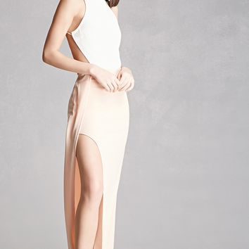 High-Slit Contrast Halter Dress