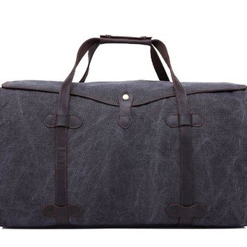 BLUESEBE HANDMADE WATERPROOF WAXED CANVAS LEATHER TRIM TRAVEL DUFFLE BAG YD3175