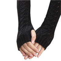Amazig Long Mitten Gloves Women Knitted Arm Fingerless Gloves Solid Color FunS29 JFY66