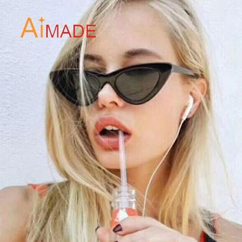 Aimade 2018 Fashion Cute Sexy Retro Cat Eye Sunglasses Women Vintage Brand Designer Cateye Sun Glasses For Female Ladies UV400