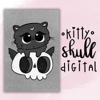 Cats and Skulls Digital Dashboard, Spiderweb Goth Digital, Hand-Drawn Printable