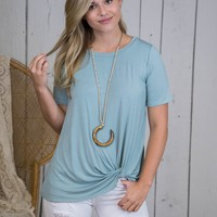 Malay Bamboo Fabric Knotted Top, Dusty Green