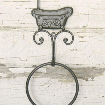 Towel Ring, Towel Holder, Hand Towel Holder, Bathroom Wall Decor, Bathroom Decor, Shabby Cottage, Bathroom Towel, Cast Iron Wall Decor