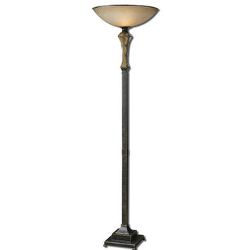 Uttermost Porano Torchier w/ Lightly Antiqued Frosted Glass Shade