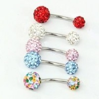 World Pride Bling Rhinestone Crystal Ball Navel Belly Button Ring Stainless Steel Body Piercing Jewelry