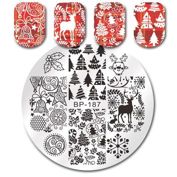 BORN PRETTY Round Stamping Plate Xmas Tree Jingle Bell Deer Manicure Nail Art