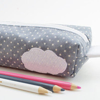 Boxy Pencil Case, Fabric Zipper Case, Grey, Cloud Applique and Rainbow Lining