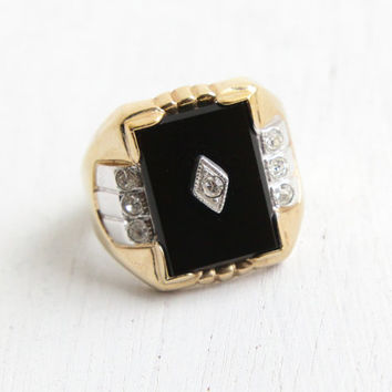 Vintage Art Deco Style Onyx Black Stone & Rhinestone Ring - Men's Retro Statement Size 9 18k HGE Two Tone Hallmarked Uncas Costume Jewelry