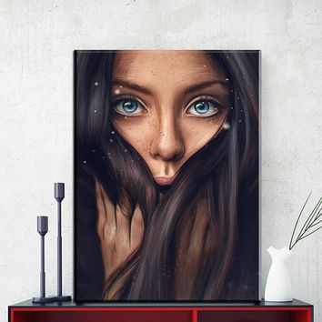 Fashion girl Large Wall Art Canvas Painting Modern Sexy Women Face Picture Abstract Figures Oil Painting For Home Decor