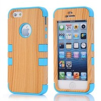 Meaci Apple Iphone 5 5s Case Hard Soft Wood-plastic Composite&silicone Combo Hybrid Defender Bumper (sky blue)