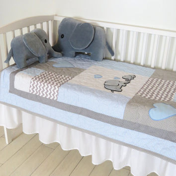 Elephant Baby Quilt, Blue Gray Crib Bedding, Chevron  Elephant Blanket, Grey Safari Nursery