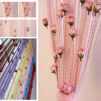 100x200cm 8 colors String Curtain With Rose Flower Decor Tassels Fly Insect Door Screen Divider Window Panel Room Divider