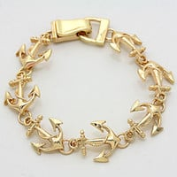 "7"" gold anchor nautical link bangle cuff magnetic marine sea life bracelet"