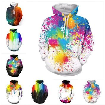 Newest Fashion Womens/Mens Splatter Rainbow Funny 3D Print Casual Hoodies Pullovers Sweatshirts LMS0054