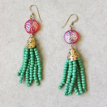 Hot pink gold bead tassel earrings. 14k gold filled earwires.
