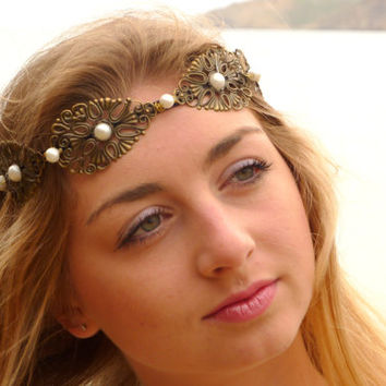 Gold BRONZE and white pearls  crown, Gold Spring wedding hair accessories, Bridal headpiece, Floral headband, Greece goddess gold crown