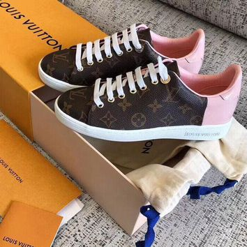 LV Women's High Heel Print Shoes Ladys Fashion Sneakers B-ALS-XZ  Coffee and pink Tail