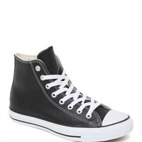 Converse All Star High Black Leather Sneakers - Womens Shoes - Black