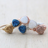Triangle Druzy Ring Geometric Gemstone In Sterling Silver, Wire Wrapped Cocktail Ring Modern Fashion