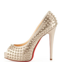 Christian Louboutin Vendome Spikes Specchio Platform Red Sole Pump, Beige