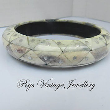 Vintage/Antique  Bangle, Tribal  Bracelet, Carved  Bone and Silver Metal Bracelet,  Bone Mosaic,Boho Jewelry
