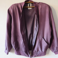 ON SALE Vintage 80s Purple Silk Jacket Silk Bomber Jacket Purple Hipster Parka Silk Windbreaker Lightweight Jogging Jacket Unisex Large Size