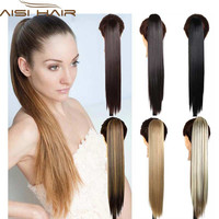24inch long straight synthetic hair extensions ponytail Claw Clip drawstring blond pony tail fake hair pad wig tress hairpiece