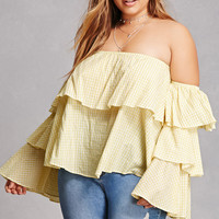 Plus Size Gingham Flounce Top