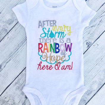 Rainbow baby Onesuit- gifts for rainbow baby- miracle baby- infant loss- rainbow baby- rainbow baby shirt- for this child i have prayed-