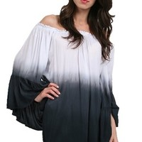 Elan Off the Shoulder Top with Ruffled Sleeves in Grey Ombre One Size