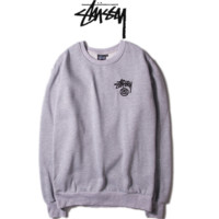 """""""Stussy"""" girl Fashion long sleeve loose sweater Thick Grey"""