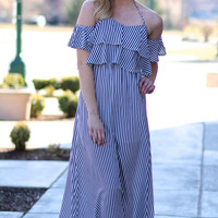 Chains And Stripes Flounce Navy Maxi Dress