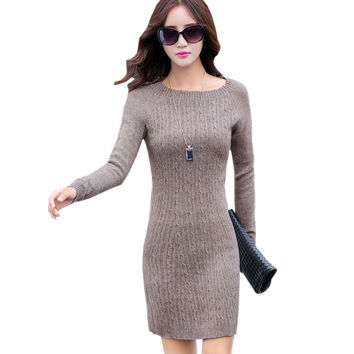 2016 New Autumn Winter Women Knitted Dress Korean Style Elegant Ladies Long Sleeve Casual Slim Bodycon Sweater Dresses Vestidos