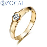 ZOCAI Solitaire Engagement Ring Band 0.12 CT Channel Set Diamond Solid18K Yellow Gold W04091