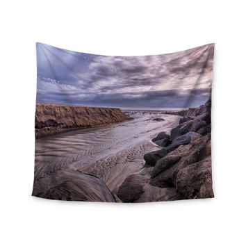 "Nick Nareshni ""Clouds Over Carlsbad Beach"" Blue Coastal Wall Tapestry"