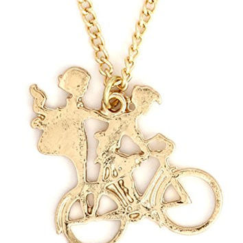 Boy and Girl Vintage Bicycle Necklace Gold Tone NW08 Bike Cyclist Pendant Fashion Jewelry