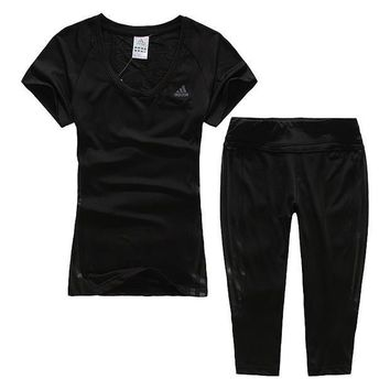 Adidas Woman Gym Sport Yoga Embroidery Top Cami Shorts Set Two-Piece Sportswear-4