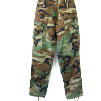 US Army CAMO Pants Vintage United States Military Cargo Drawstring Trousers Green Camouflage Fatigues Grunge Punk Small Long