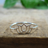 Wide Lotus Flower Stacking Ring