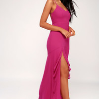 Luxurious Love Magenta Lace-Up Maxi Dress