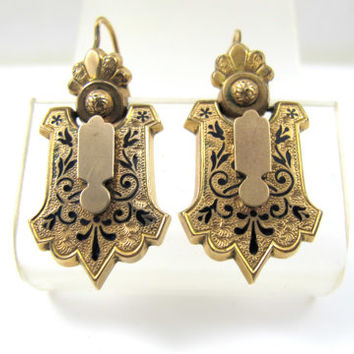 Victorian Earrings, Taille d'Epargne Black Enamel Tracery, Pierced Dangle Drop Earrings , Antique Mourning Jewelry, 1800s Rose Gold Earrings