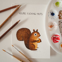 Funny Nuts Squirrel Original Watercolor Painting - Inktober