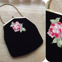 Vintage 60s Black Velvet & Hot Pink Taffeta ROSE Embroidered Handbag Clutch Purse Chain Handle