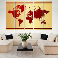 LARGE World Map Canvas Set of 5 or 3 or 1 Panels Wall Décor / World Map Print / World Map Wall Art / World Map Canvas / World Map Gift