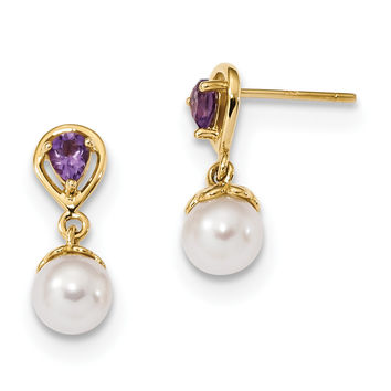 14K Gold w/ Amethyst & Freshwater Cultured Pearl Post Dangle Earrings XF643AM